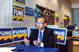 LOCAL CONTROL: Cranston Mayor Allan W. Fung, a Republican candidate for governor, said he would support a voter referendum for the proposed natural gas power plant in Burrillville, adding that local control and local decision-making works in Rhode Island. / PBN PHOTO/RUPERT WHITELEY