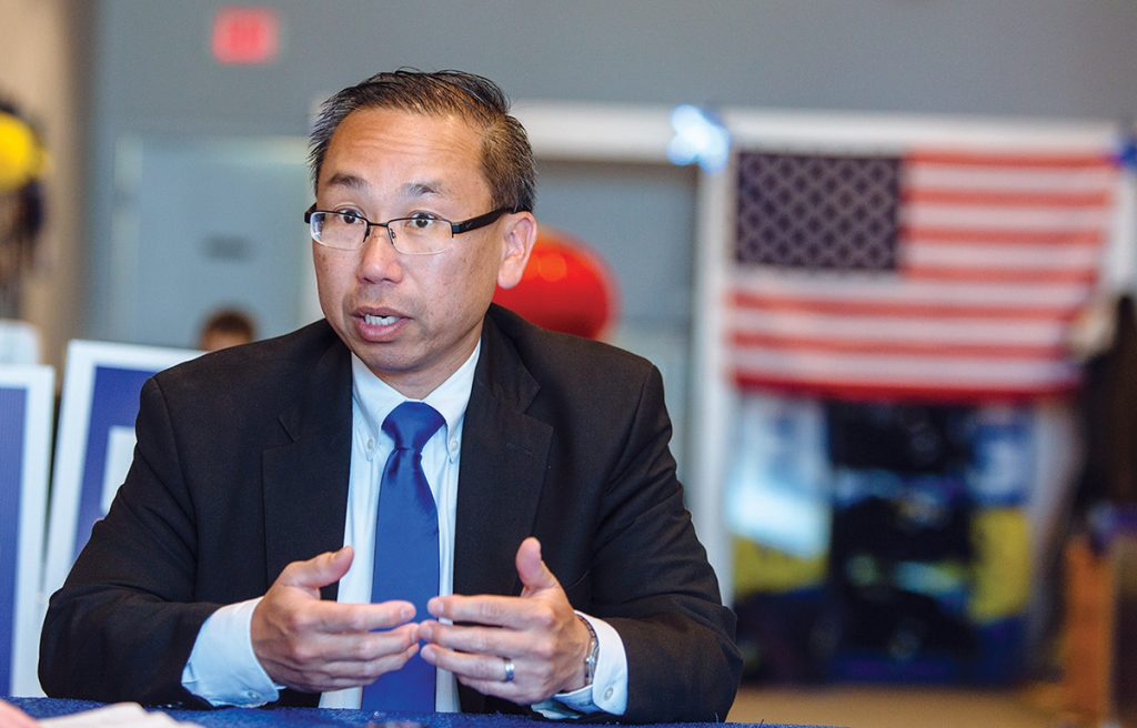 MAKING AN IMPRESSION: Cranston Mayor Allan W. Fung has plans to reduce the state's sales tax from 7 percent to 5 percent, paying for much of the drop in revenue by eliminating many of Gov. Gina M. Raimondo's economic-development incentives. 