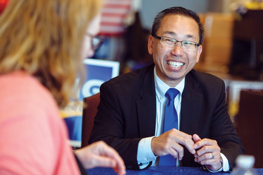 LOW-FEE PROMISE: Gubernatorial candidate Allan W. Fung, mayor of Cranston, says Rhode Island should have a reputation of being low in taxes and low in fees. He wants to reduce business fees to put money back in the pockets of owners, who he says have been struggling. / PBN PHOTO/RUPERT WHITELEY