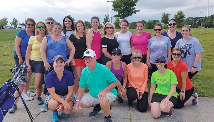 LEAGUES AHEAD: DiSanto, Priest & Co. employees from last summer's Women's Golf League at Mulligan's Island in Cranston.