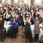 HUMAN CAPITAL: Pawtucket Credit Union employees celebrate at the credit union's 2018 employee recognition night March 19.