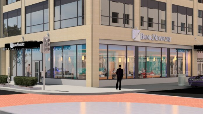 A RENDERING SHOWS what BankNewport's first Providence branch will look like when completed, located at 55 Dorrance St. and slated to open later this month. / COURTESY BANKNEWPORT