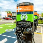 MORE electric-vehicle charging stations like this one will help Rhode Island meet environmental goals, said Kevin Miller of ChargePoint, a California-based manufacturer. / COURTESY CHARGEPOINT