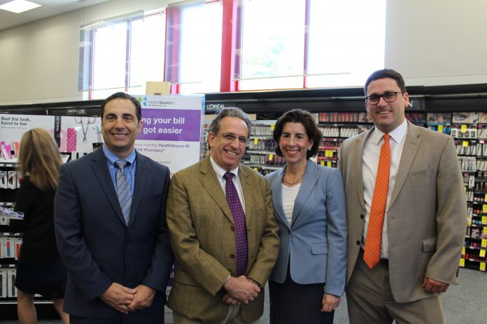HRSI PARTICIPANTS may now pay their health insurance bills at a CVS Pharmacy retail location. Above, from left to right, – HSRI Chief Operating Officer Ernie Iannitelli, Sen. Joshua Miller, Gov. Gina M. Raimondo, HSRI Director Zachary W. Sherman. / COURTESY HSRI