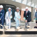 NEWPORT HOSPITAL'S $12.5 emergency room expansion will add 12 treatment rooms and three triage spaces. Officials broke ground on the project Friday morning. From left, are Peter Capodilupo, Chairman, Newport Hospital Foundation Board of Trustees, Happy van Beuren, van Beuren Charitable Foundation ,Crista F. Durand, president, Newport Hospital, Larry A. Aubin, Sr., chairman, Lifespan Board of Directors, Dorienne Farzan, Alletta Morris McBean Charitable Trust / COURTESY LIFESPAN