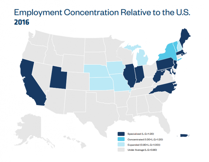 RHODE ISLAND is among top states with specialized concentrations in biotech according to BIO's 2018 industry report. Above, a map depicting biotech employment concentrations by state. /COURTESY BIO