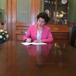GOV. GINA M. RAIMONDO signed legislation that is designed to incentivize defendants in class action lawsuits related to the St. Joseph pension plan to settle. / COURTESY OFFICE OF GOV. GINA M. RAIMONDO