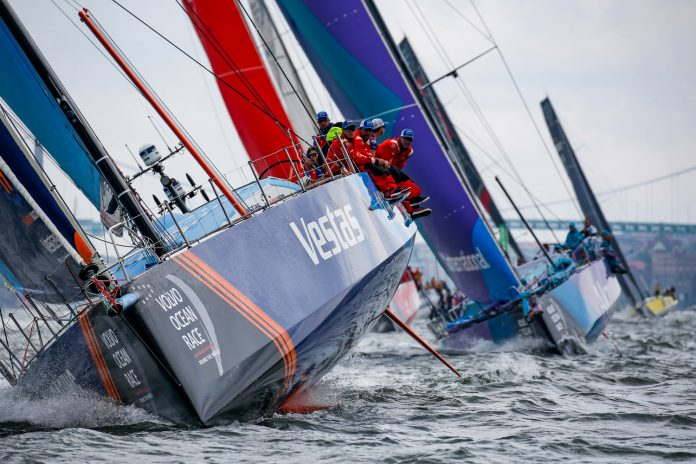 VESTAS 11TH HOUR RACING placed first in the Gothenburg, Sweden in-port race. The team is no longer in contention for a podium finish in the Volvo Ocean Race. / COURTESY VOLVO OCEAN RACE/JESUS RENANDO