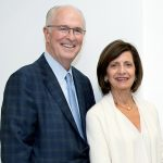 URI ANNOUNCED THURSDAY a $3 million gift by Richard J. Harrington '73 and his wife Jean to the URI Harrington School of Communication and Media. The Harringtons are pictured here in 2016 at the Harrington HUB opening. / COURTESY URI/JOE GIBLIN