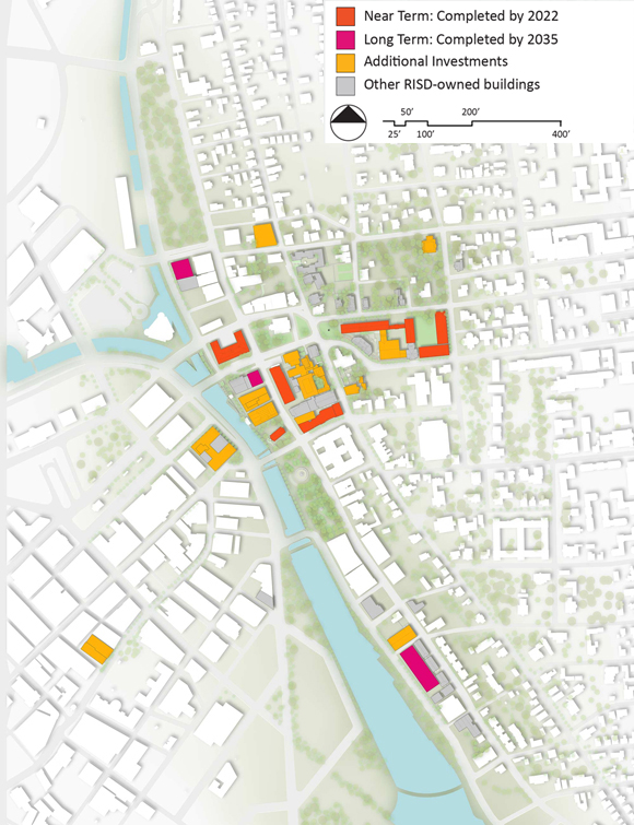 Rhode Island School of Design's master plan, made public Thursday, sets out three stages of construction and renovation with expected completion dates of as soon as 2022 and 2035. / COURTESY RISD