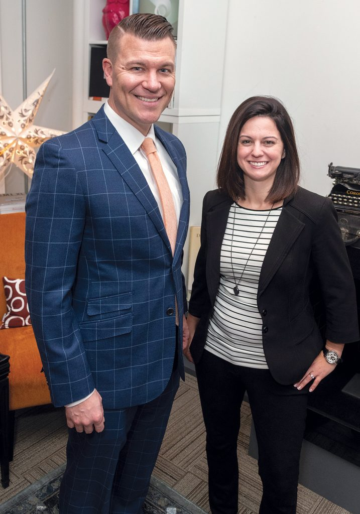 PERSONAL TOUCH: Tyler Wentworth, president, and Erin Pavane, career coach, launched The Hire, a Pawtucket-based corporate staffing agency, in December 2017 to offer clients a more personal relationship with recruiters.