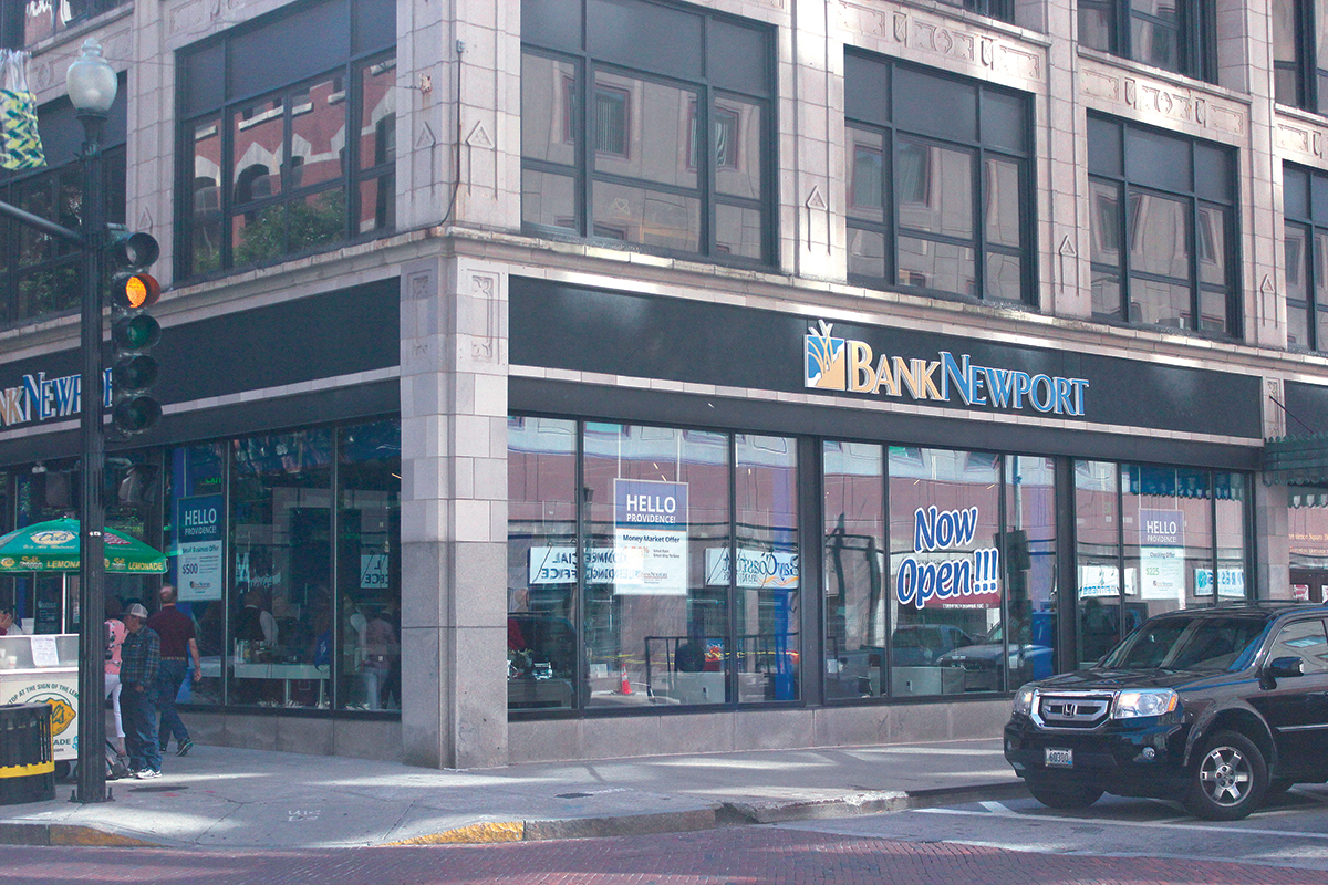 SEE-THROUGH: Windows along the Dorrance Street side of the new BankNewport branch in Providence allow both a view inside the new bank and house three offices for bank representatives.