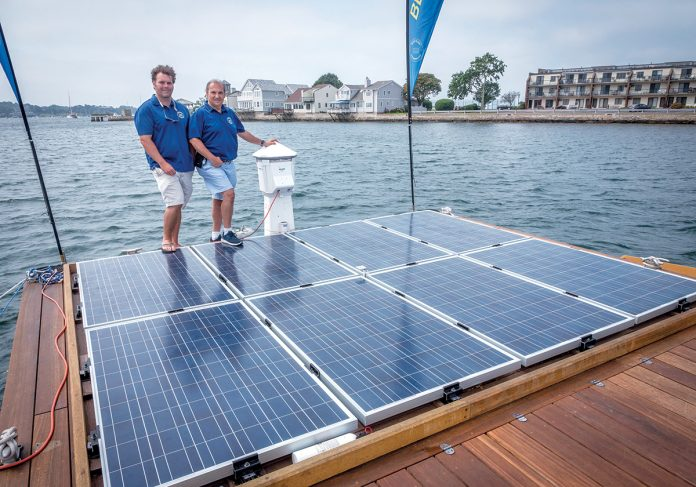 POWERDOCKS LLC has been awared the Innovation of the Year Award at the 2018 Electric & Hybrid Marine World Expo and Conference. From left, Chris Fagan, principal of PowerDocks, Anthony Baro, managing partner of PowerDocks. PBN FILE PHOTO/MICHAEL SALERNO