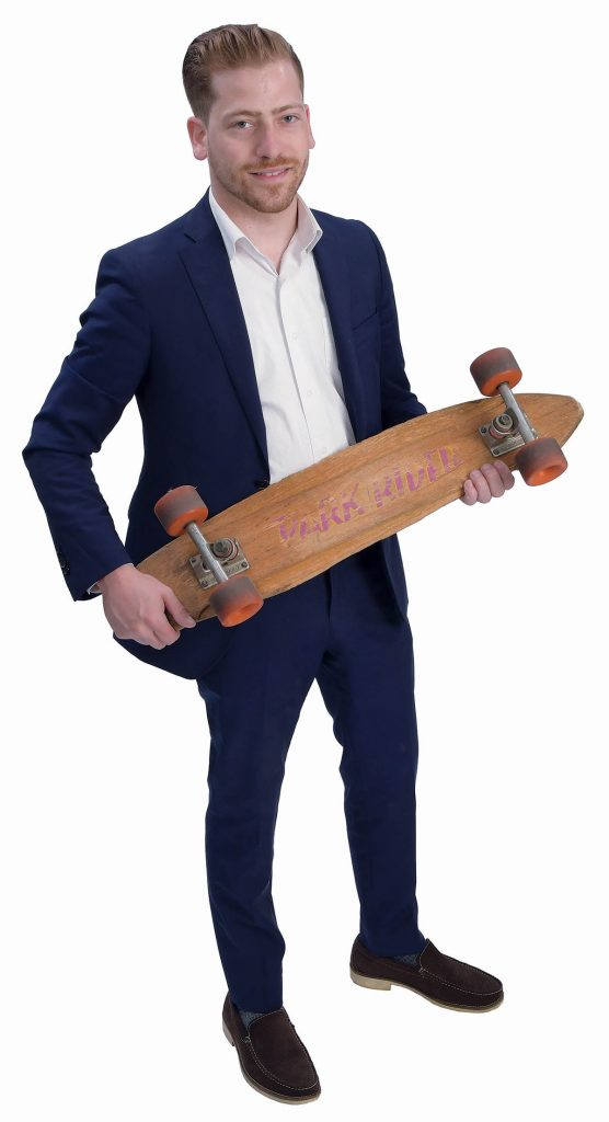 the prop: The skateboard was the first product that was Custom Design made. Now the company makes Tiffany showcases and Vendi displays. / PBN PHOTO/MIKE SKORSKI