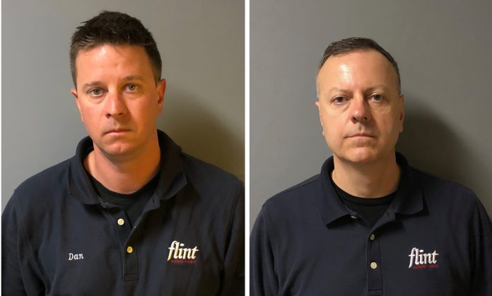 THE R.I. STATE POLICE have arrested Daniel A. Anton, left, and Gary W. Gagne, owners of Middletown-based Flint Audio-Video, for allegedly soliciting an employee to illegally access and share nude images found on customers' cell phones and computers. / COURTESY R.I. STATE POLICE