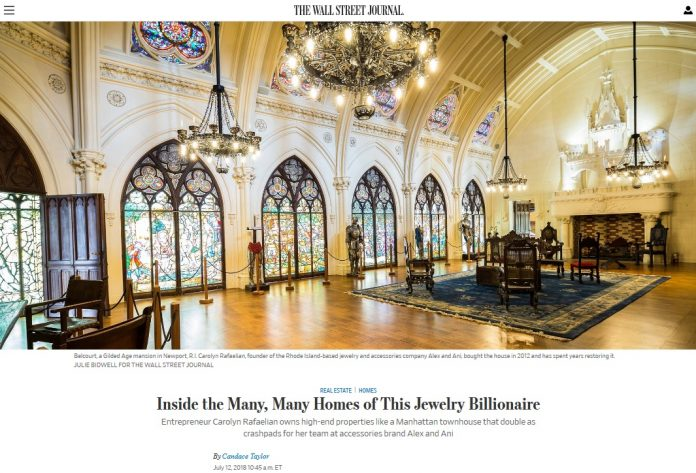 A SCREENSHOT of a profile of Carolyn Rafaelian in the Wall Street Journal in which she said she has spent $15 million restoring Belcourt, a Newport mansion.