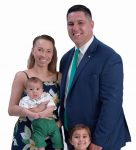 """the prop: James Yaitanes' family: wife, Astrid, and children Sophie, 3, and Sterling, 3 months. They are """"what it's all about, in my opinion."""" / PBN PHOTO/MIKE SKORSKI"""