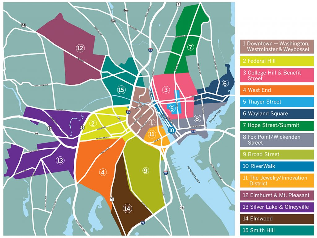 """CONNECTING COMMUNITIES: The Providence Warwick Convention & Visitors Bureau recently created online guides to 15 Providence neighborhoods that each have a """"unique character and identity."""" / PBN MAP/ANNE EWING"""
