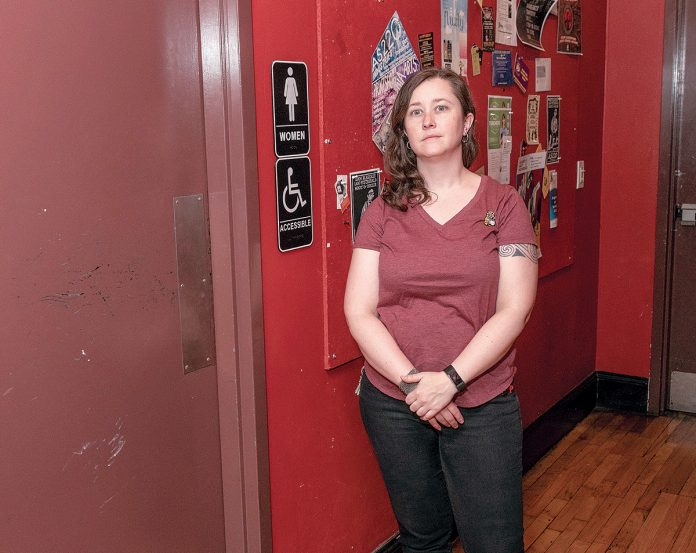 IN TUNE: More and more, institutions are reconfiguring bathrooms to be more inclusive of transgender people. Shauna Duffy, managing director of Providence's AS220, is overseeing a renovation project that will include adding a gender-neutral restroom on its first floor.