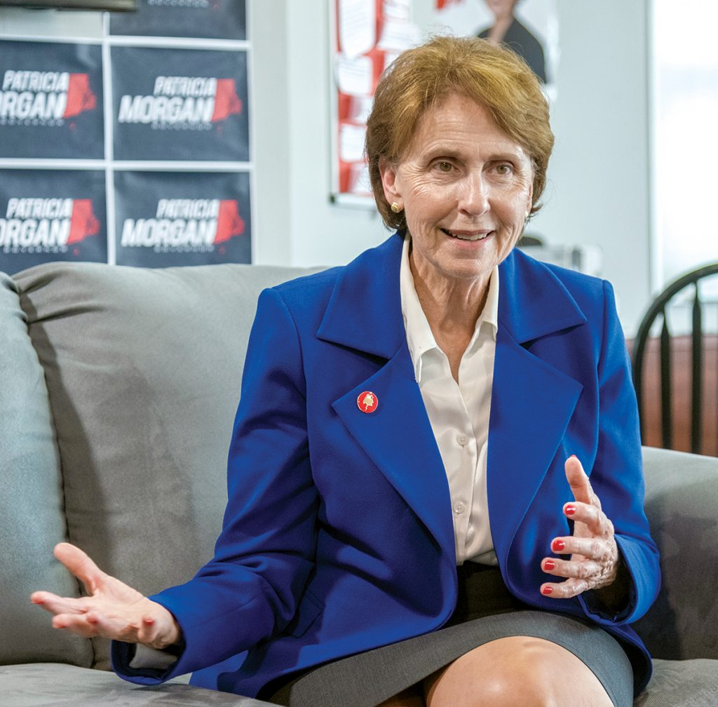 MINORITY VIEW: House Minority Leader Patricia Morgan has made a name for herself in the often-thankless role of political thorn in the sides of House Democratic leadership. This year the West Warwick Republican is hoping to raise her profile beyond Statehouse politics, taking on two challengers in the GOP gubernatorial primary. / PBN PHOTO/MICHAEL SALERNO