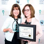 SOUND CHOICE: New Bedford Symphony Orchestra Director of Marketing Conee Sousa, left, and Communications Coordinator Patricia Burke accept the 2018 APEX Award from the SouthCoast Chamber of Commerce.