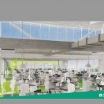 AN ARTIST'S RENDERING of the inside of offices at Citizens Bank's new corporate campus in Johnston. Public officials were expected to join the bank Tuesday to celebrate the opening of the complex off Interstate 295. / COURTESY CITIZENS BANK