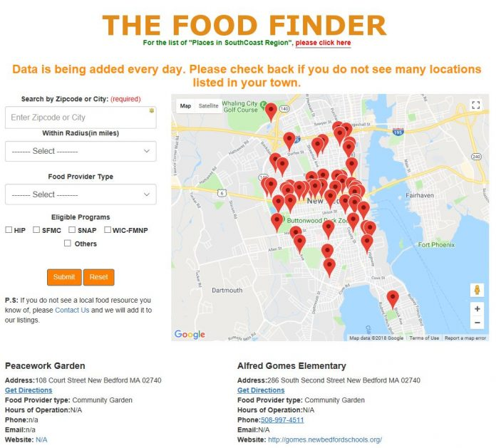 UNIVERSITY OF MASSACHUSETTS Dartmouth Associate Professor Tim Shea is developing a 'Food Finder' website and smartphone app to help southeastern Massachusetts residents find locations that provide food assistance. / COURTESY FOODFINDER.SEMAFOODSECURITY.COM
