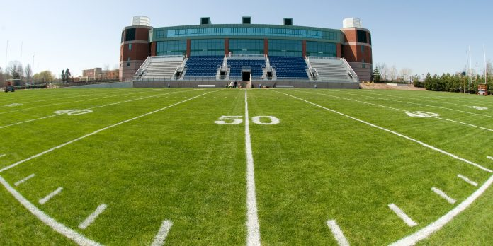 TWO URI alumni each donated $1 million toward upgrades to Meade Stadium, the home to the university's football team. The project is expected to cost $4.1 million. / COURTESY UNIVERSITY OF RHODE ISLAND SPORTS INFORMATION
