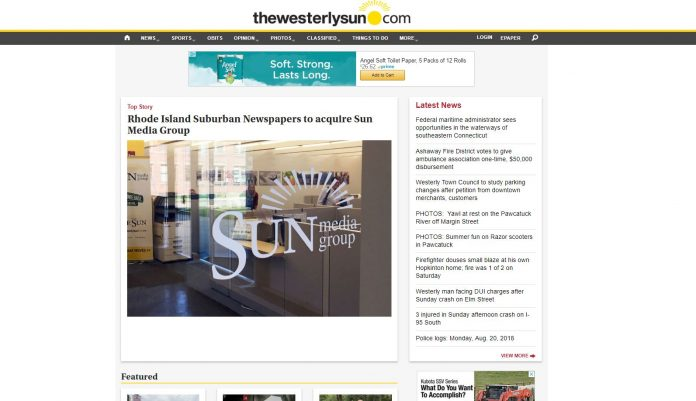 THE WESTERLY SUN has been acquired by Marion Ill.-based Rhode Island Suburban Newspapers. Above, a screenshot of the Westerly Sun announcing the sale.