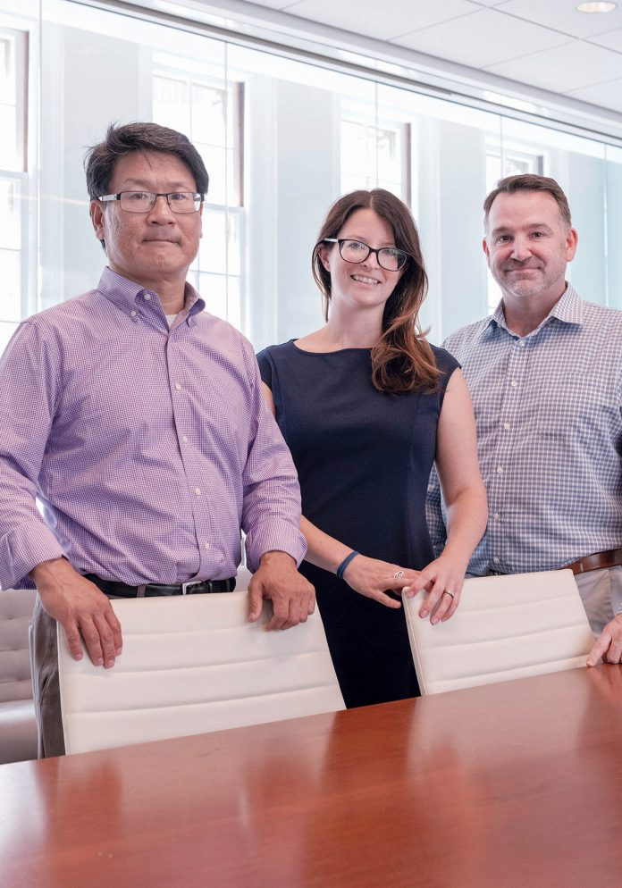 BLUE TECH: Co-founders, from left, Mark Huang, managing director; Alissa Peterson, executive director; and Jason Kelly, board chair, formed SeaAhead, an advisory firm that works with marine businesses, in May.