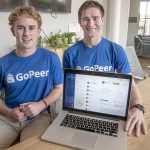 STUDENT TUTORS: Andrew Binder, left, content strategist, and Ethan Binder, co-founder, of GoPeer LLC. The Providence-based company, which launched last fall with its website, vets college students who want to tutor and connects them with families. / PBN PHOTO/MICHAEL SALERNO
