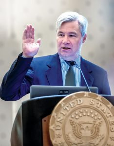 LEADING THE WAY: Sen. Sheldon Whitehouse speaks in July during his ninth annual Energy, Environment and Oceans Leaders Day at the R.I. Convention Center in Providence. / PBN PHOTO/MICHAEL SALERNO