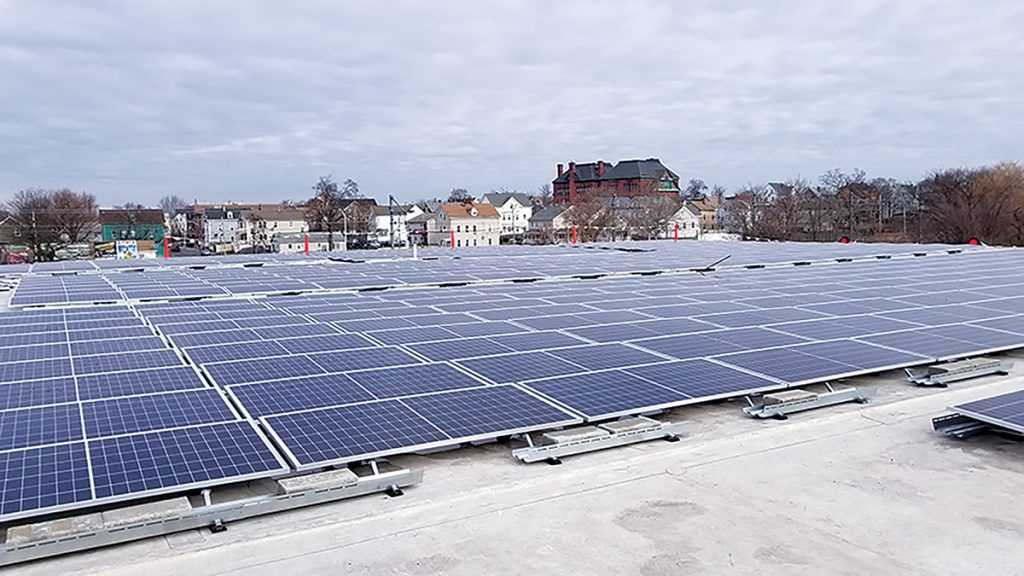 ENERGIZED: To help cut down annual electricity consumption, solar arrays were attached to the roof of Providence Water's central operation facility.