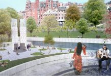 "PICTURED IS A VIEW of the design submitted by a Roger Williams University professor for the Boston Martin Luther King Jr. memorial. Called ""Ripple Effects,"" the design is one of five finalists chosen by Bay State nonprofit Martin Luther King Boston. / COURTESY WODICZKO + BONDER"