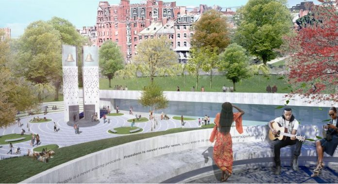 PICTURED IS A VIEW of the design submitted by a Roger Williams University professor for the Boston Martin Luther King Jr. memorial. Called