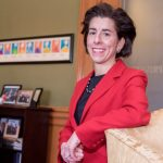 GOV. GINA M. RAIMONDO in her office at the Rhode Island State House. Raimondo signed an executive order instructing state agencies to preserve affordable access to health care. / PBN FILE PHOTO/ MICHAEL SALERNO