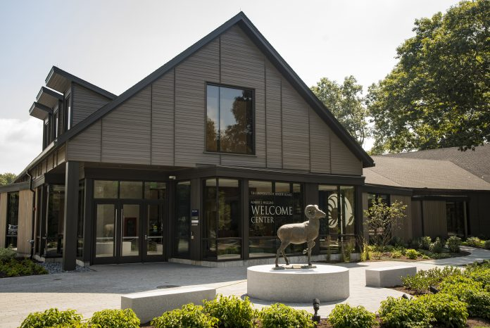 THE ROBERT J. HIGGINS Welcome Center was officially opened during a ceremony Wednesday on the University of Rhode Island South Kingstown campus. / COURTESY UNIVERSITY OF RHODE ISLAND/NORA LEWIS