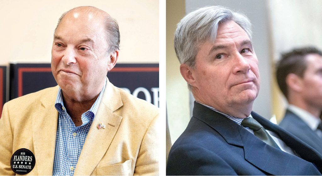 DIFFERENCE OF OPINION: Sen. Sheldon Whitehouse, D-R.I., right, said an allegation of sexual assault could be enough to disqualify a nominee to the Supreme Court. Robert G. Flanders Jr. disagreed, saying the allegation must be proven in order to disqualify. / PBN PHOTOS/MICHAEL SALERNO