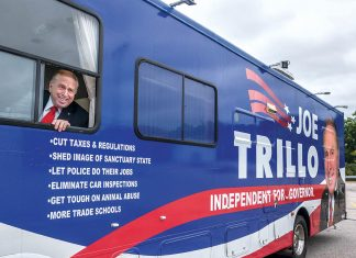HITTING THE PAVEMENT: Gubernatorial candidate Joseph A. Trillo, a former Republican state representative who has owned several manufacturing and retail businesses in Rhode Island, is running as an independent in the Nov. 6 general election. Trillo uses two buses and a truck to travel around the state and spread his message to voters.