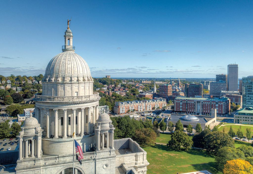 LOFTY PERCH: With spear in hand from high atop the Statehouse, the Independent Man overlooks Providence as a symbol of the spirit of freedom and independence that led 17th-century Puritan minister Roger Williams to start the Colony of Rhode Island after being expelled from Massachusetts. / PBN PHOTO/PAM BHATIA
