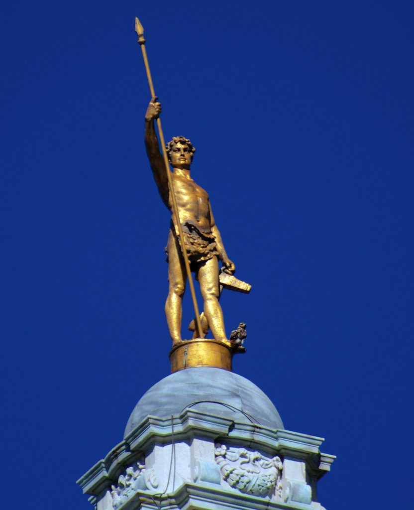 SYMBOLIC FIGURE: The Independent Man atop the Statehouse in Providence symbolizes Rhode Island's self-image and history of independence. Unaffiliated voters have long outnumbered both registered Republicans and Democrats in the state. / PBN PHOTO/PAMELA BHATIA