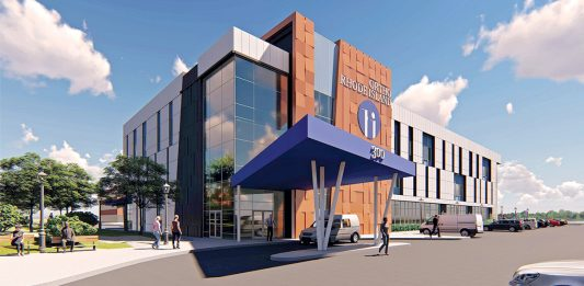 TAKING ADVANTAGE: Ortho Rhode Island's new building being constructed along Crossings Boulevard in Warwick will be the state's first to take advantage of legislation exempting medical-tourism-themed facilities from the R.I. Department of Health's certificate-of-need process. / COURTESY CARPIONATO GROUP
