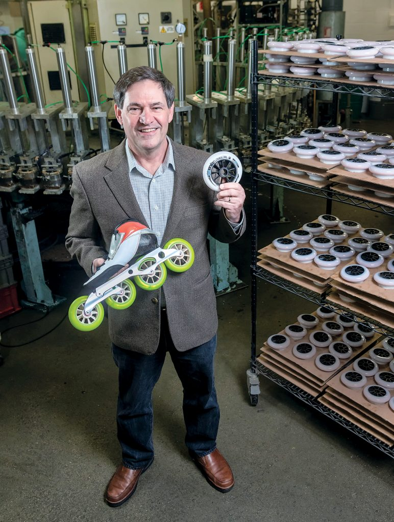 MEARTHANE PRODUCTS has acquired Virginia-based Creative Urethanes, adding 20 employees and expanding the company into new markets. Above, Pete Kaczmarek, president of Mearthane Products. / PBN FILE PHOTO/MICHAEL SALERNO