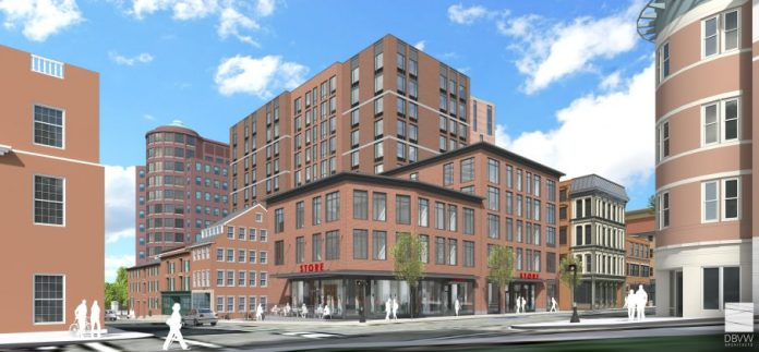 A RENDERING OF Edge College Hill Two, a new apartment building proposed for the base of College Hill in Providence. / COURTESY DBVW ARCHITECTS