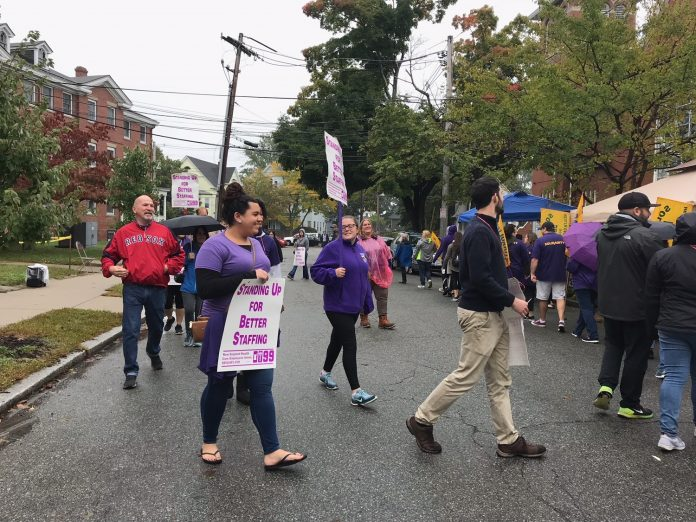 DISTRICT 1199 SEIU NEW ENGLAND, representing Groden Center behavioral specialists, has reached a tentative three-year contract agreement with the Groden Network. Above, the union on strike in early October. / COURTESY DISTRICT 1199 SEIU NEW ENGLAND