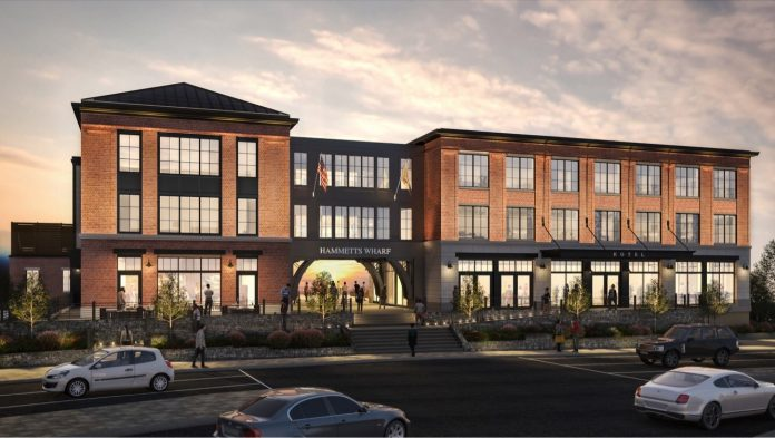 CONSTRUCTION BROKE GROUND on the Hammetts Wharf in Newport. The project will include an 84-room boutique hotel, a restaurant and retail space. / COURTESY UNION STUDIO ARCHITECTS