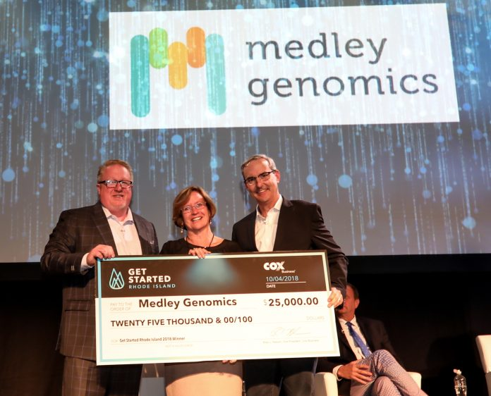 MEDLEY GENOMICS won the Get Started Rhode Island Pitch Competition Thursday. Above, from left, Ross Nelson, vice president, Cox Business; Patrice Milos, president and CEO, Medley Genomics; and Ken Kraft, senior vice president of marketing and sales operations, Cox Business. / COURTESY COX BUSINESS