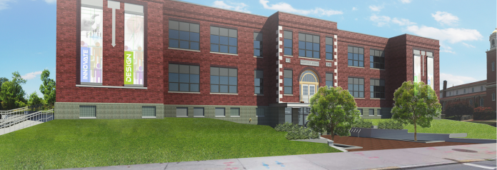 INNOVATE NEWPORT - the project seeking to repurpose the former Sheffield School into a professional coworking space - announced it had partnered with Boston-based coworking space company WorkBar. Pictured is a rendering of the completed Innovate Newport project. / COURTESY NORTHEAST COLLABORATIVE ARCHITECTS AND STUDIO TROIKA