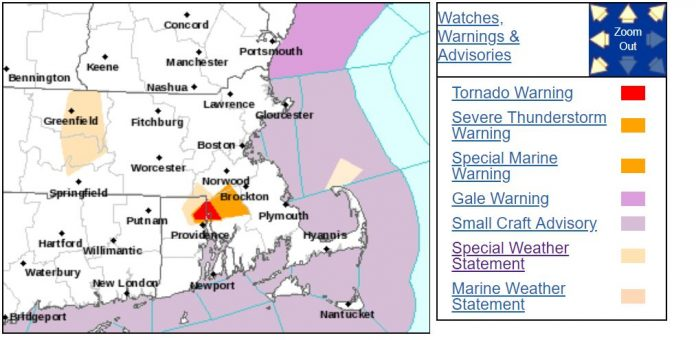 A TORNADO WARNING has been issued by the National Weather Service for east central Providence County, western central Bristol County, Mass, and southwestern Norfolk County, Mass., until 4 p.m. Tuesday.