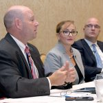 BEING PROACTIVE: Panelists at the 2018 PBN Cybersecurity Summit, held at the Crowne Plaza Providence-Warwick on Oct. 11, discuss ways companies can prepare for and prevent cyberattacks and hackers. From left: Jeffrey Ziplow, cybersecurity risk assessment partner for BlumShapiro; Francesca Spidalieri, senior fellow for cyber leadership at the Pell Center for International Relations and Public Policy at Salve Regina University; and Jason Farmer, senior solution manager for RiskSense.